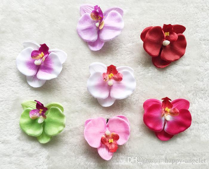 20pcs 3 pouces blanc Orchidée Phalaenopsis Fleurs avec Barrettes Filles Head Flower bande cheveux pour enfants Accessoires HD3560