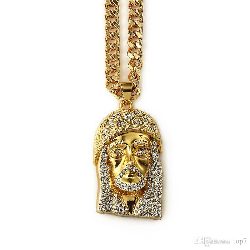 2018 Hot Sale Best Friends Forever Gifts Fashion Bold Necklaces Jesus Necklace Mens Gold Necklace Chain Christ Bling Chain
