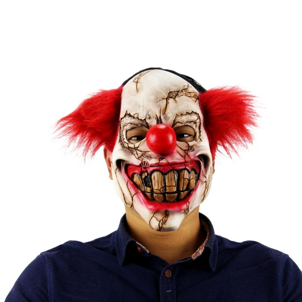 Halloween Mask Scary Clown Latex Full Face Mask Big Mouth Red Hair Nose Cosplay Horror masquerade Ghost Party Decor 2018