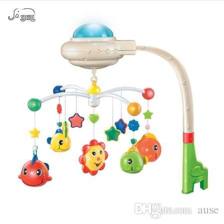 Kids Bed Bell Musical Crib Mobile for Baby Toys 0-12 Months Infant Hanging Rattles Plastic Starry Projection Rotating Holder Toy