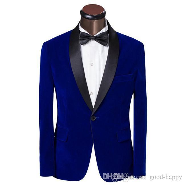 Automne Hiver Mode Royal Blue Velvet Groom Tuxedos Hommes Mariage Smokings Hommes Formelle Affaires Dîner De Bal Costumes (Veste + Pantalon + Cravate) 1906