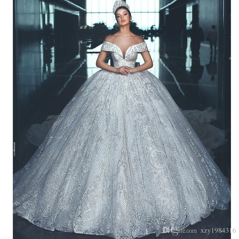 Arabia Dubai Princess Wedding Dresses Luxury Heavy Beads Lace Ball ...