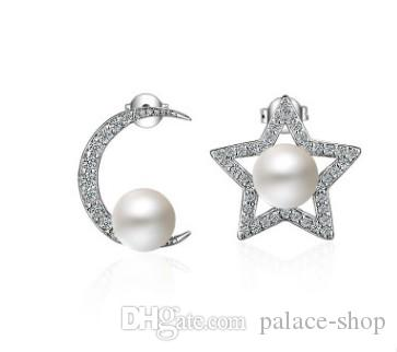 chaming 925 silver crystal zircon pearl diamond Asymmetric diamond stars Pendientes de dama (8.3) gd