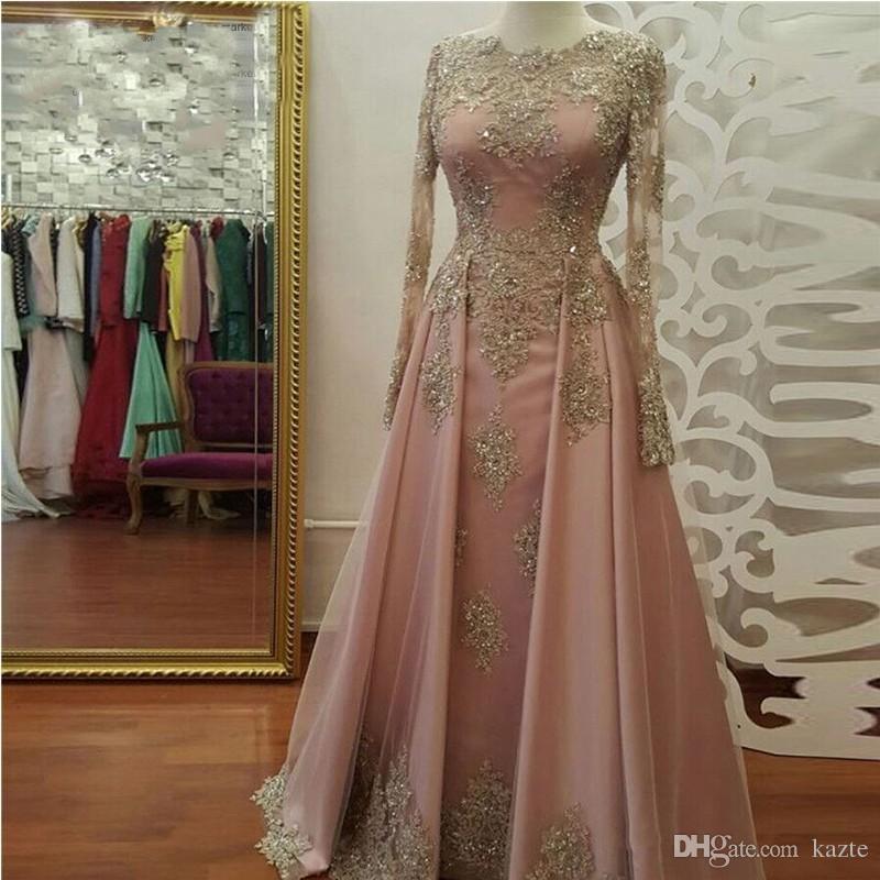 Vestidos de noche de manga larga de oro rosado de rosa para mujeres que usan apliques de encaje Crystal Abiye Dubai Caftan Muslim PROM de fiesta de fiesta
