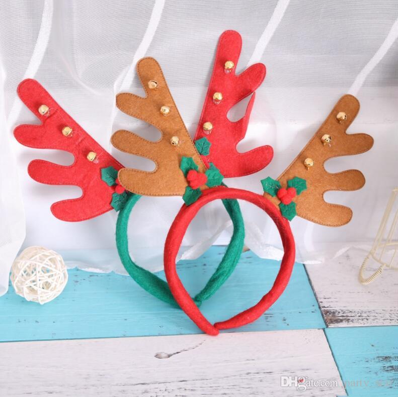 Çan ile 2 Stil Noel Elk Boynuzları Kafa Bandı Yetişkin Çocuk Parti Kutlama Bandı Sahne Noel Doğum Günü Kafa Süslemeleri