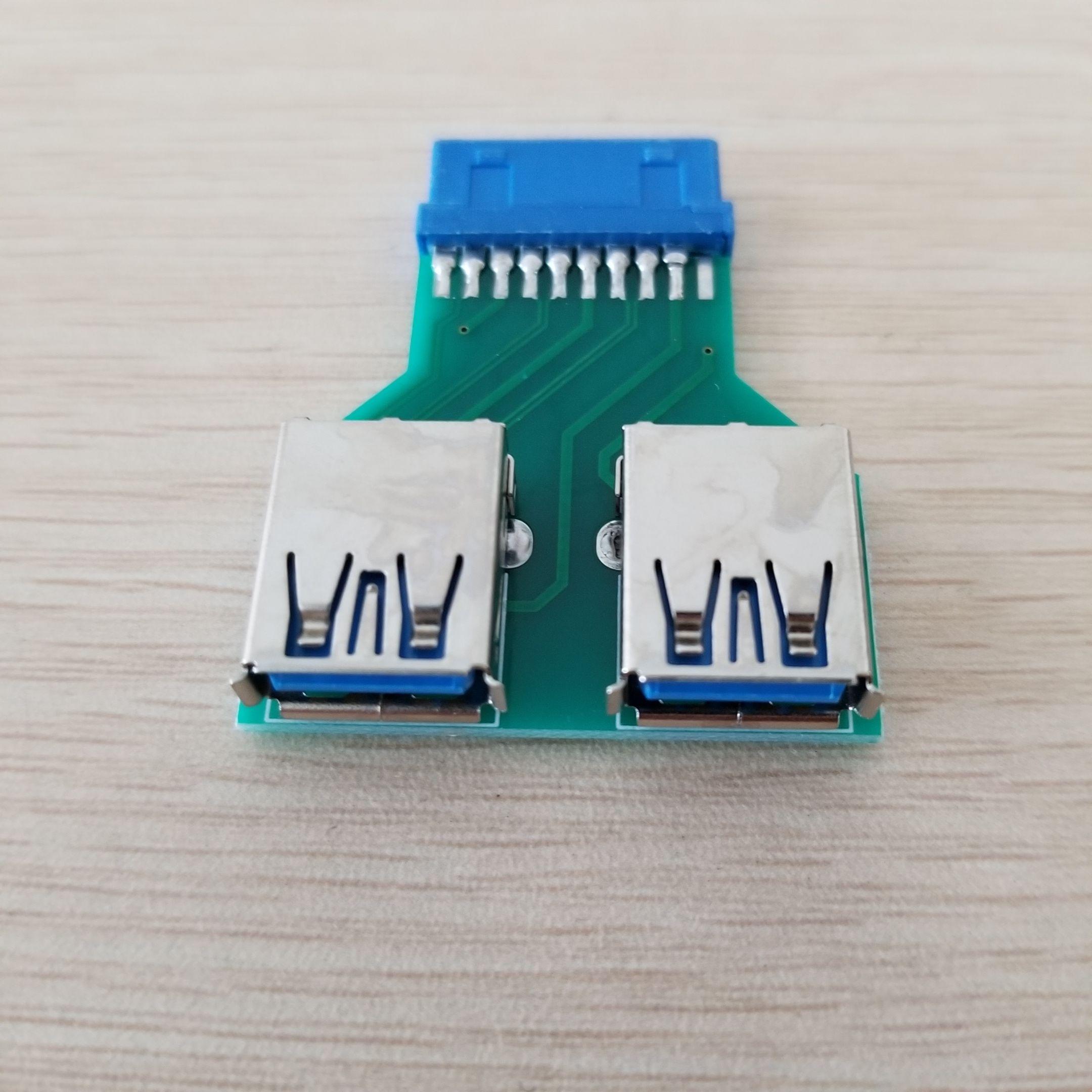Mini Płyta główna 20PIN Header do 2 Port 3,0 Hub A Adapter Connector Samica do kobiet do Extender USB PCB