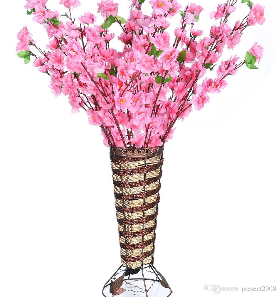 Rami Di Pesco Finti acquista vasi di fiori artificiali romantico rami artificiali di pesca  cherry blossom fiori di seta casa decorazione di cerimonia nuziale del  fiore a
