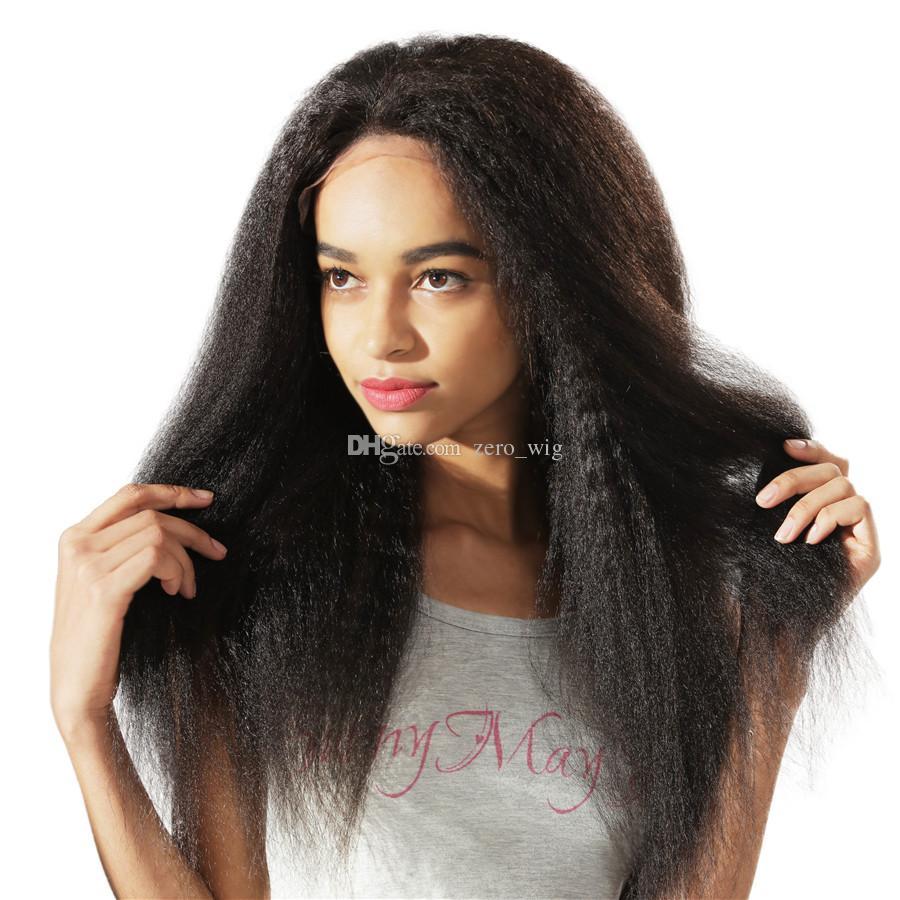 180 Densidad Kinky recta del frente del cordón peluca llena del cordón superior de seda del pelo humano malasio 4.5X5 Yaki seda Base sin cola pelucas natural de la rayita