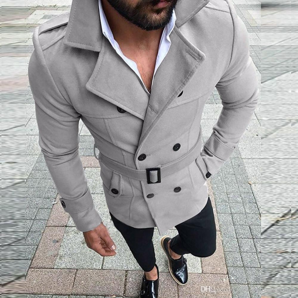 Trench-coat en laine Col rabattu Angleterre Double-breasted Slim Fit Pardessus en laine avec ceinture Hommes Veste casaco masculino