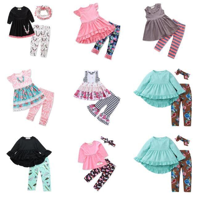 Meninas bebê de volta às roupas de escola 30 desenhos tops calças headbands cachecol coelho listrado unicórnio flora grande siter kids sets by0373