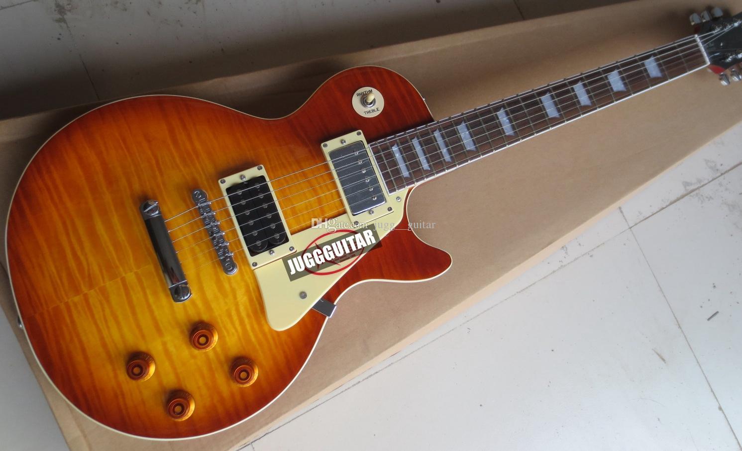 Custom Shop Standard 1959 Jimmy Page Flame Maple Top Cherry Sunburst الغيتار الكهربائي، المستقبلات الكروم الحديثة، الماهوجني الجسم روزوود الأصابع