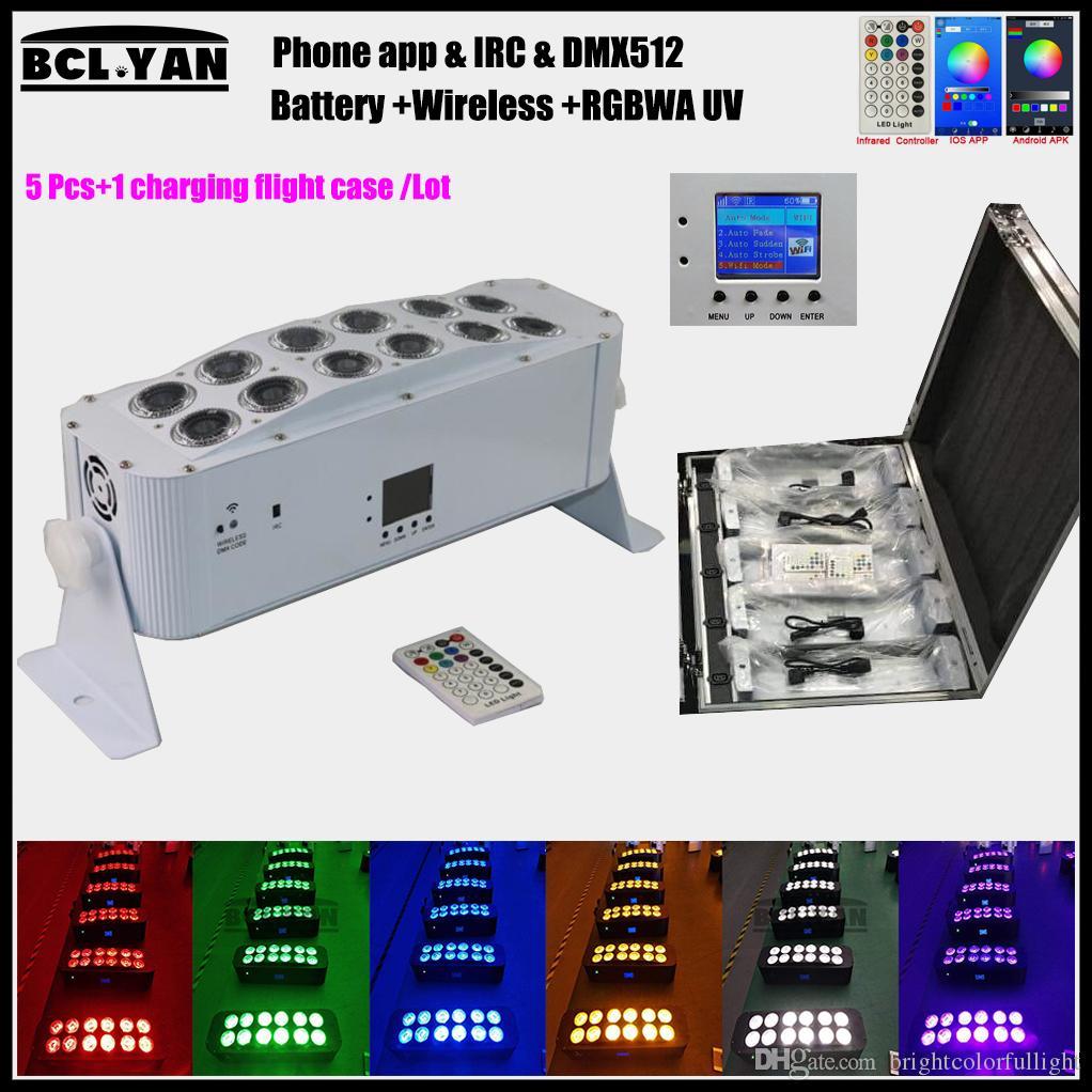 (Flight case)Dj light wireless dmx remote control 12*18w led rgbwa uv par led wash wifi battery wireless uplighting for weddings