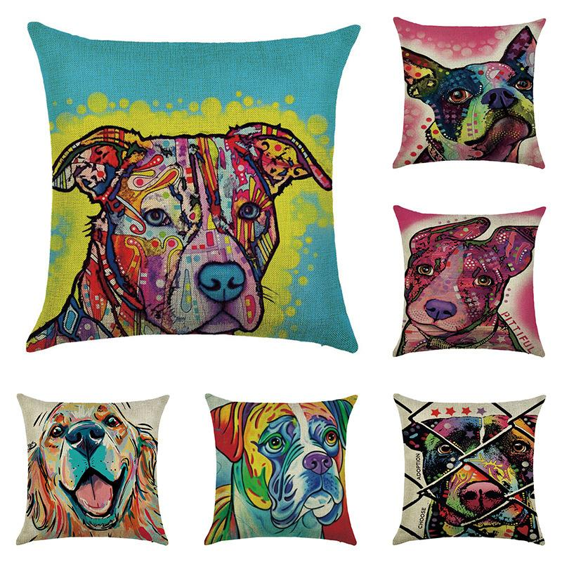 Hot Sale Colorful Oil Painting Cushion Cover 45x45CM Cute Dogs & Cats Pillow Linen Cover Room Decorative Pillow Case