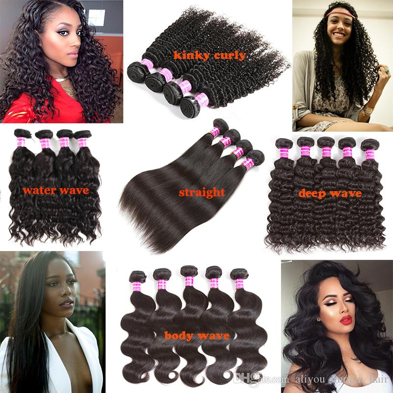 Unprocessed Brazilian Kinky Straight Body Deep Wave Curly Hair Weft Wet and Wary Hair Peruvian Indian Malaysian Cheap Human Hair Extensions