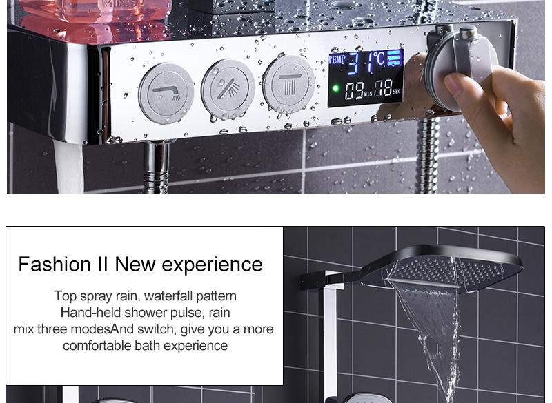 In Wall Exposed Touch Digital Shower Bath 3 Function Bathroom Shower Set Smart Intelligent Thermostat Waterfall Rain Shower (3)