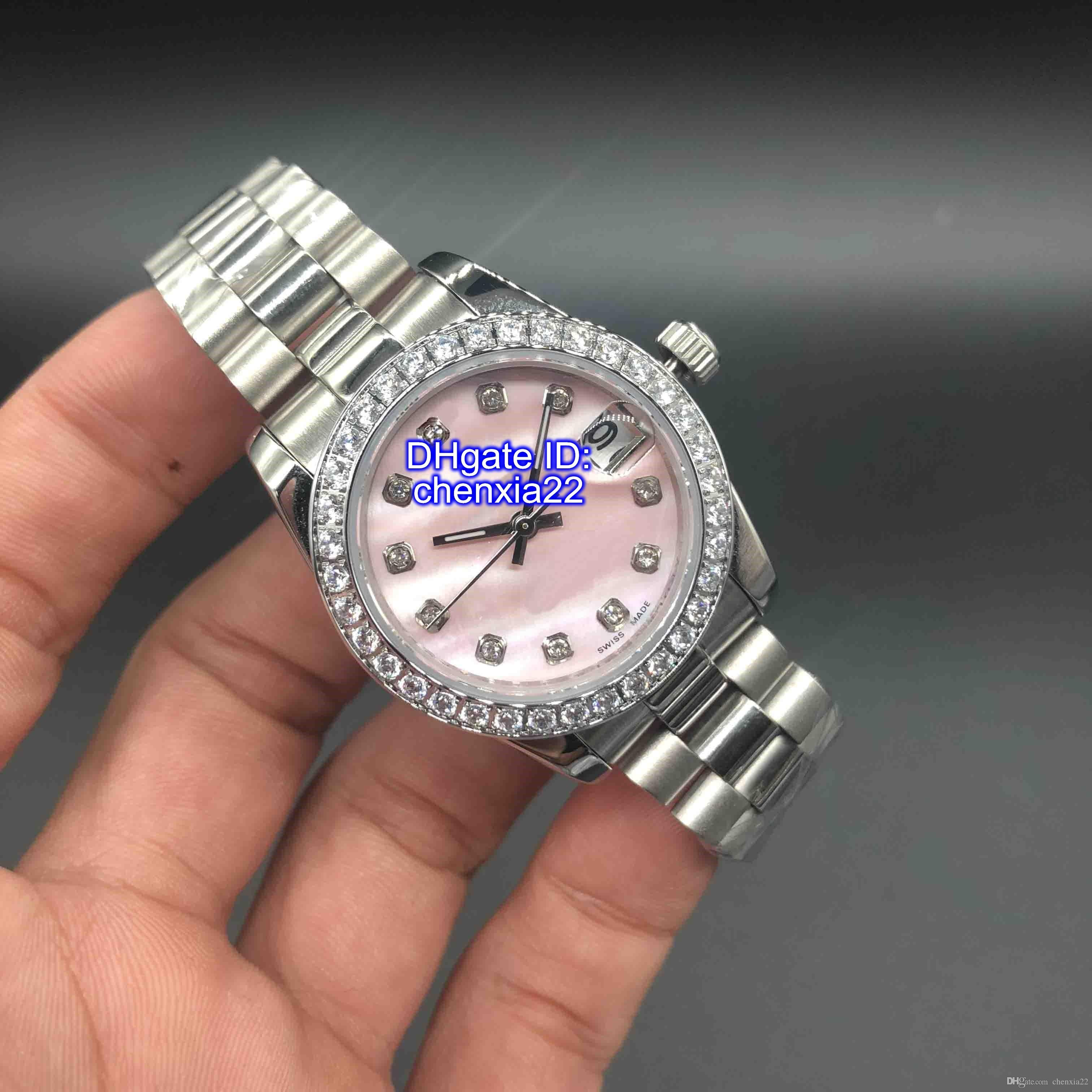 DateJust Relógios Diamante Mark Shell Rosa Dial 32 milímetros O melhor presente Mulheres inoxidável Relógios de pulso Ladies Namorados automática