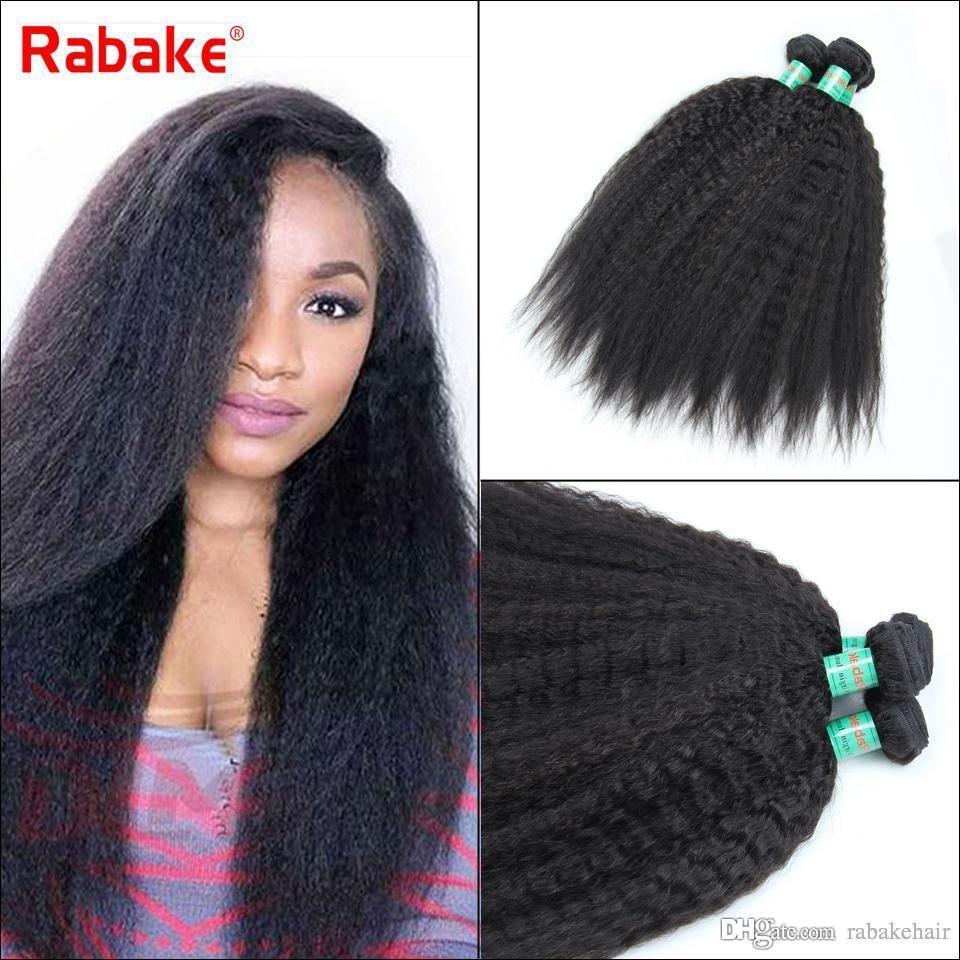 Brazilian Kinky Straight Human Hair Bundles Rabake 3/4 Bundles Grade 8A Coarse Yaki for Black Women Virgin Hair Weave Extensions