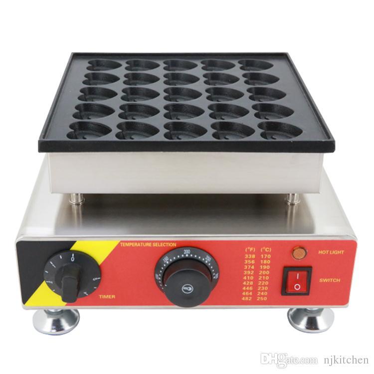 Utilisation commerciale 110v 220v électrique en forme de coeur fabricant poffertjes néerlandais gril à pancake fer mini machine à crêpe moule
