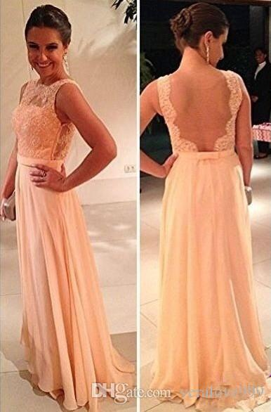 Wholesale Peach Prom Dresses Sheer Lace Chiffon A-line Pageant Gowns Bateau Open Back Floor Length Bridesmaid Party Gowns