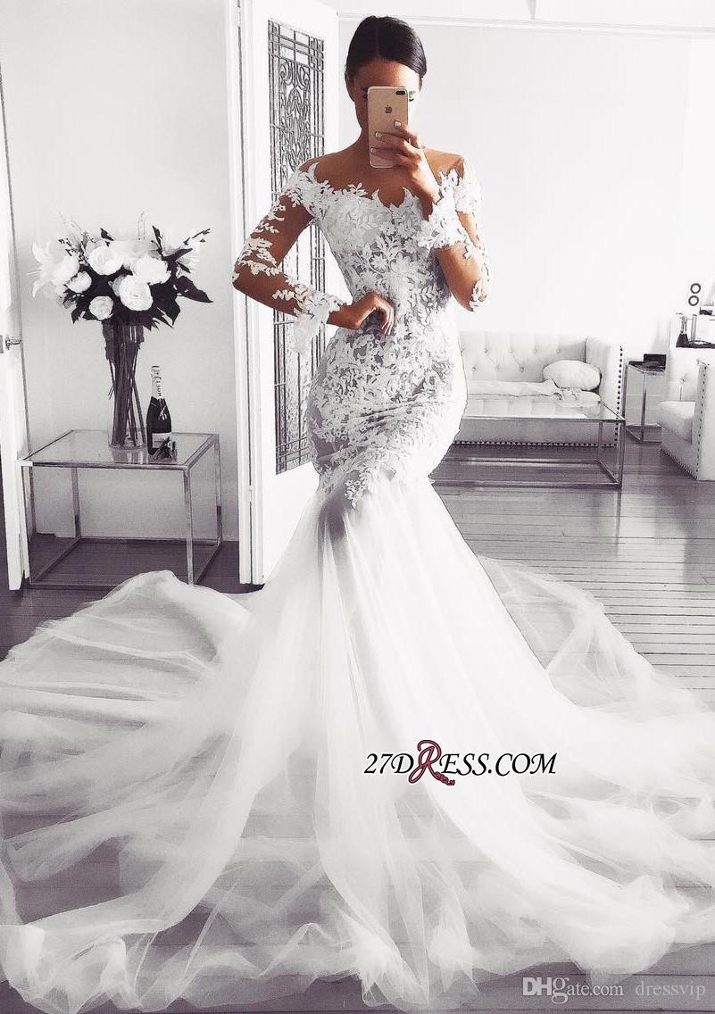 Vestido de novia de manga larga glamoroso Cuello en V Tren de barrido Ilusión Apliques de encaje Vestidos de novia de sirena 2019 Vestido de novia árabe de talla grande