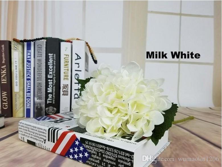 """Alta calidad Real touch Seda Hydrangea Big Flower 19 cm / 7.5 """"Seda Bouquet de flores de boda blanco para centros de boda Decoración para el hogar"""