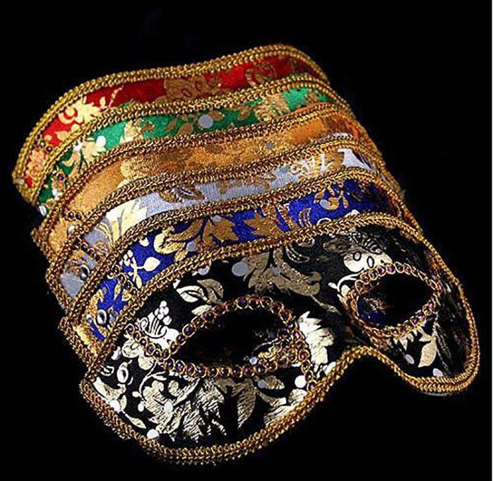 Media mascarilla Máscara de Halloween Máscara masculina Venecia Italia encaje de cabeza plana máscaras de tela brillante DHL Free