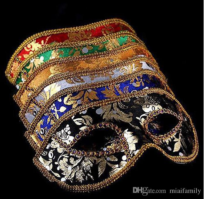 Yarım Yüz Maskesi Cadılar Bayramı Masquerade maske erkek Venedik İtalya flathead dantel parlak bez maskeleri DHL Ücretsiz
