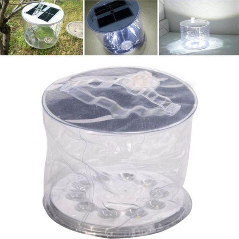 Lanterne Solaire Gonflable 10 LED Lanterne Étanche IPX6 Pliable Portable Pique-Nique Camping Natation Extérieur Tente De Pêche En Gros
