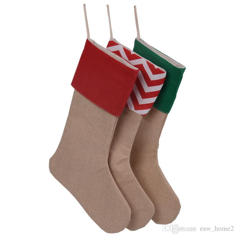 Noel çorap çorap 30 * 45 cm Noel hediye çantası stocking çanta ağacı Asılı dekorasyon çorap tuval Noel çorap