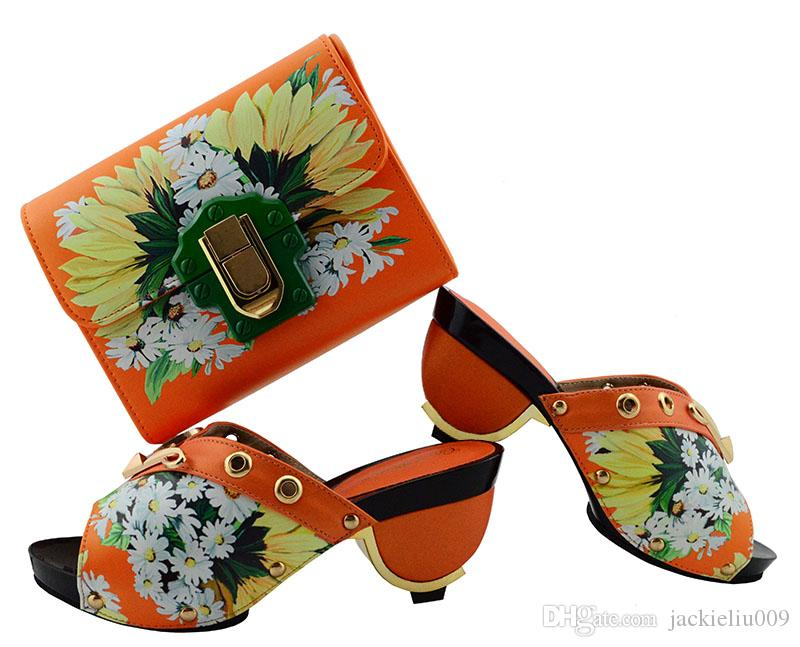 Wonderful orange ladies pumps african shoes match handbag set and prints yellow flower for dress GL01,heel 7.5CM