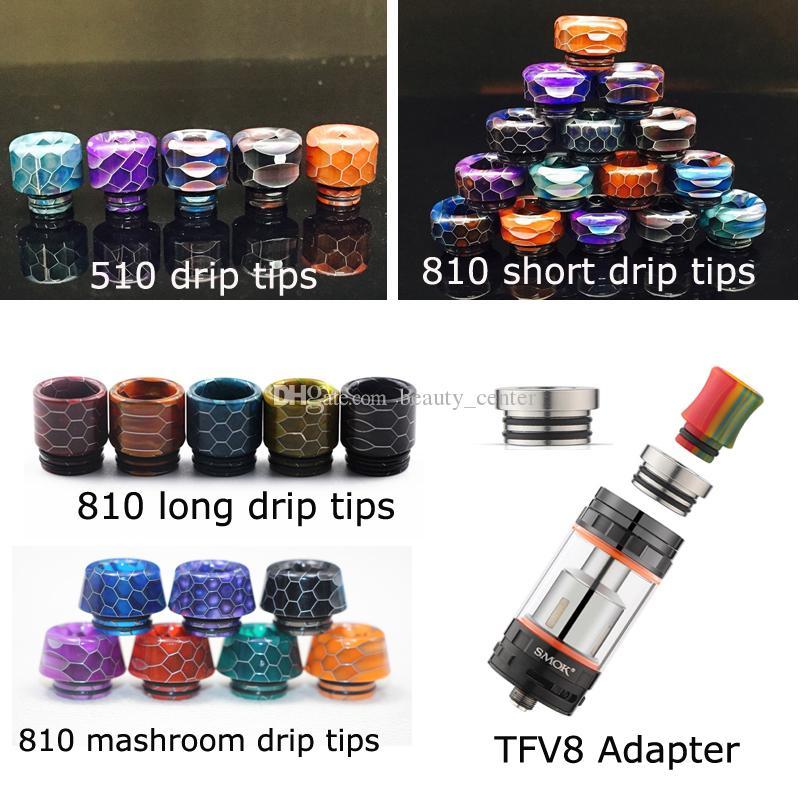 4 أنماط 510 810 الأفعى نمط الجلد راتنجات الايبوكسي بالتنقيط تلميح TFV8 محول بالتنقيط نصائح ل TFV8 طفل TFV12 كينيدي 528 خزان البخاخة