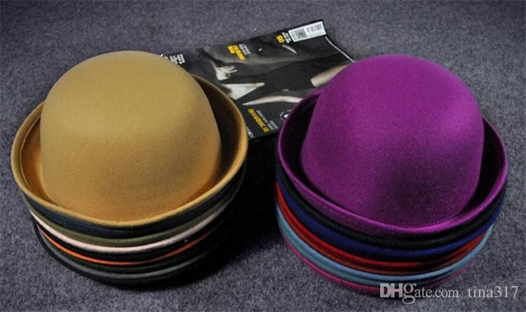... New Stingy Brim Hats Women Felt trilby wool felt hats Vintage Trendy  Wool Felt Cloche Bowler 58db588209e7