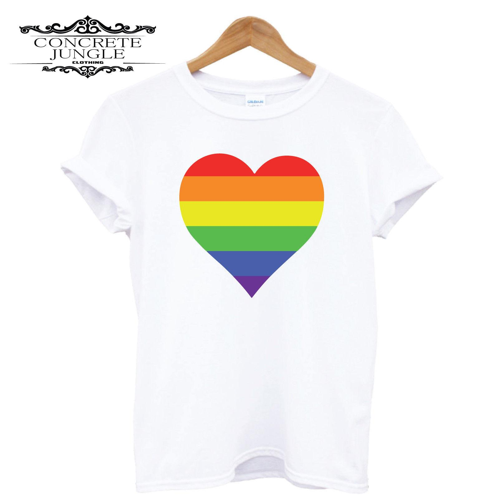Rainbow Love Heart MEN WOMEN UNISEX T-SHIRT TOP TEES
