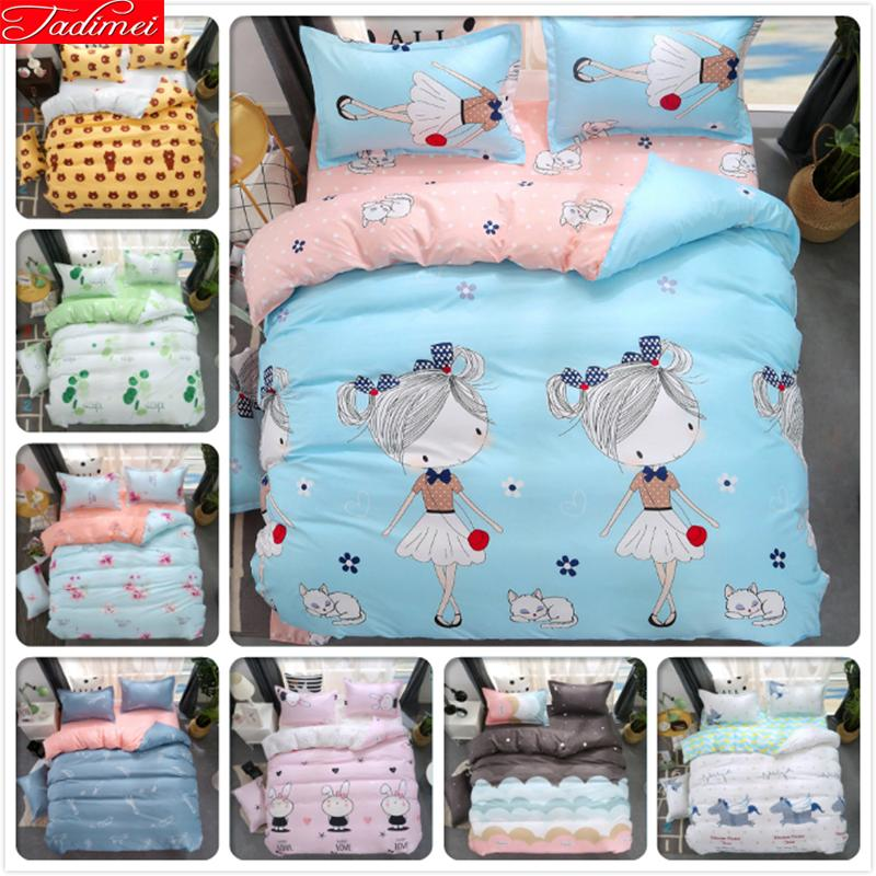 Girl Fashion Creative Blue Pink AB Side Duvet Cover 3/4 pcs Bedding Set Kids Child Soft Bed Linens Single Twin Full Double Size