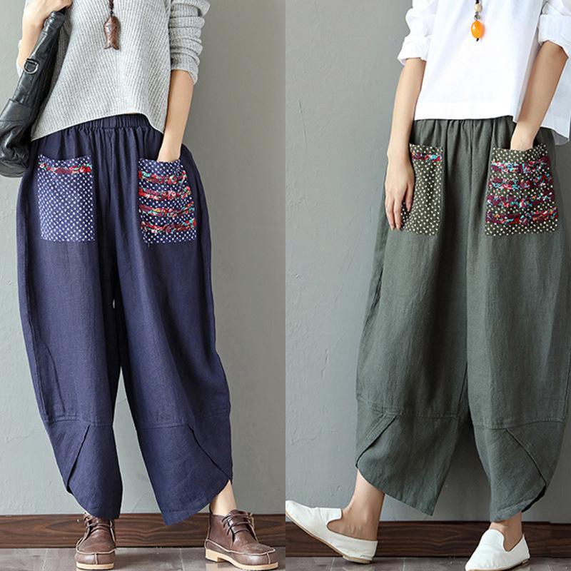 Pantalones de mujer pantalones de algodón pantalones sueltos pantalones de pierna ancha cintura elástica vintage mujer casual harén pantalones