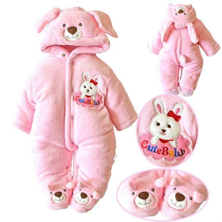 2019 Winter-Romoers neugeborenes Baby Body Langarm-Kapuzenoberteil Junge Infant Overalls mit One Piece Kaninchen Toodler Overall