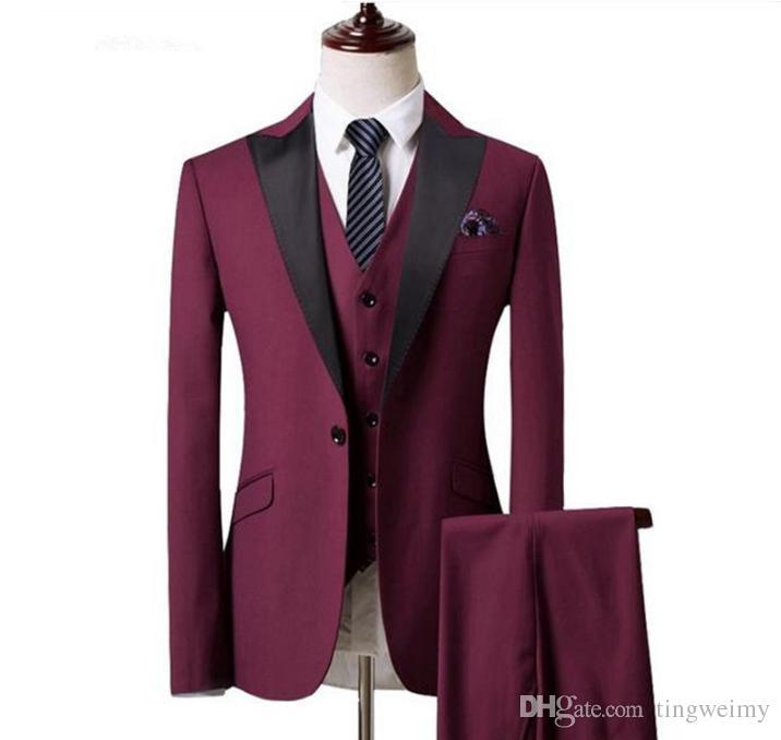 costume classique hommes bureau d'affaires simple boutonnage col tailleur rouge vin de costumes pour hommes de haute qualité (veste + pantalon + veste) costumes de marié