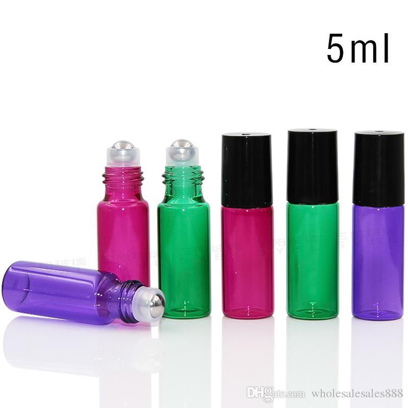 Cam Şişe ile 5ml Rulo Cam Metal Rulo Topu ile Doldurulabilir Rulo Cam Şişeler Parfüm Uçucu Yağlar Pembe Mavi Yeşil Mor