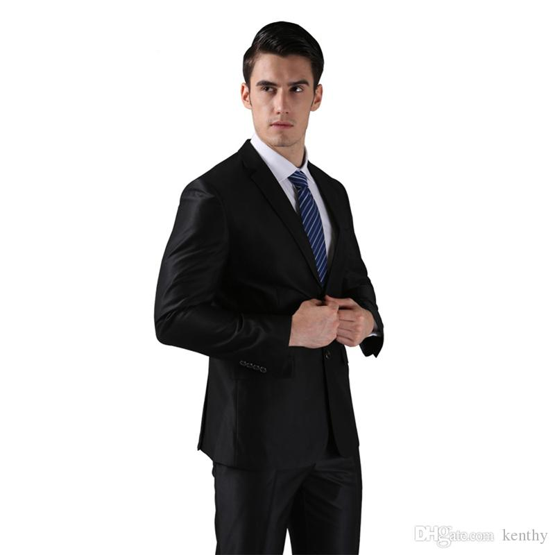 Custom Made 2018 Black Men Suits Blazer Business Wedding Suits Bridegroom Slim Fit Prom Formal Tailored Tuxedo Best Man 2 Piece Jacket+Pants