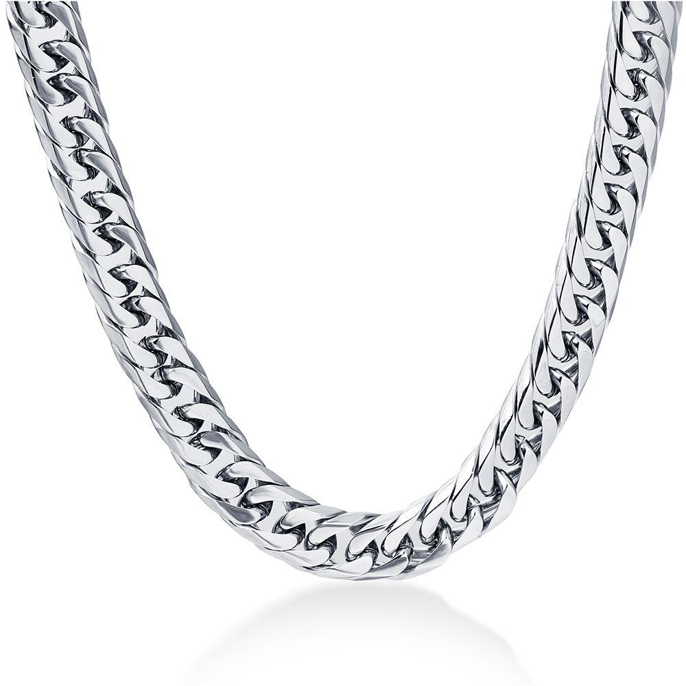 Collier de 8mm de largeur pour hommes 24 pouces d'acier Simless en acier plaqué argent collier Chaîne d'hommes, bijoux de mode