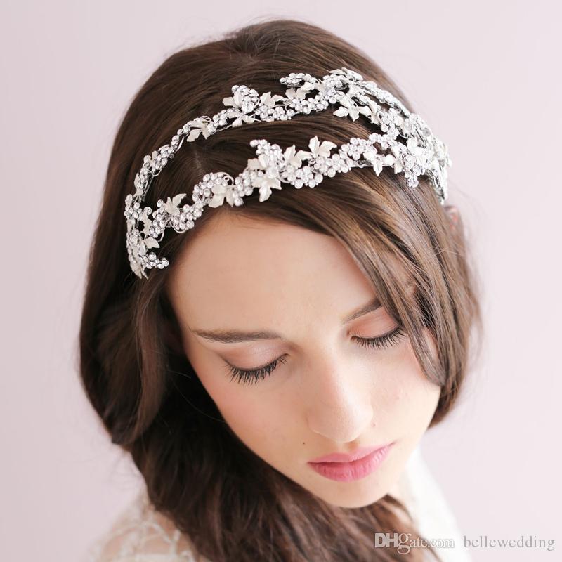 Twigs Honey Wedding Headpieces Accessori per capelli con strass Gioielli per capelli da sposa Tiara nuziale Fasce per capelli BW-HP029