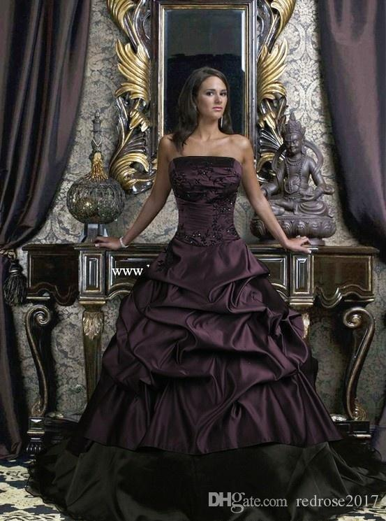 Ball Gown Gothic Wedding Dresses Black And Purple Strapless Floor