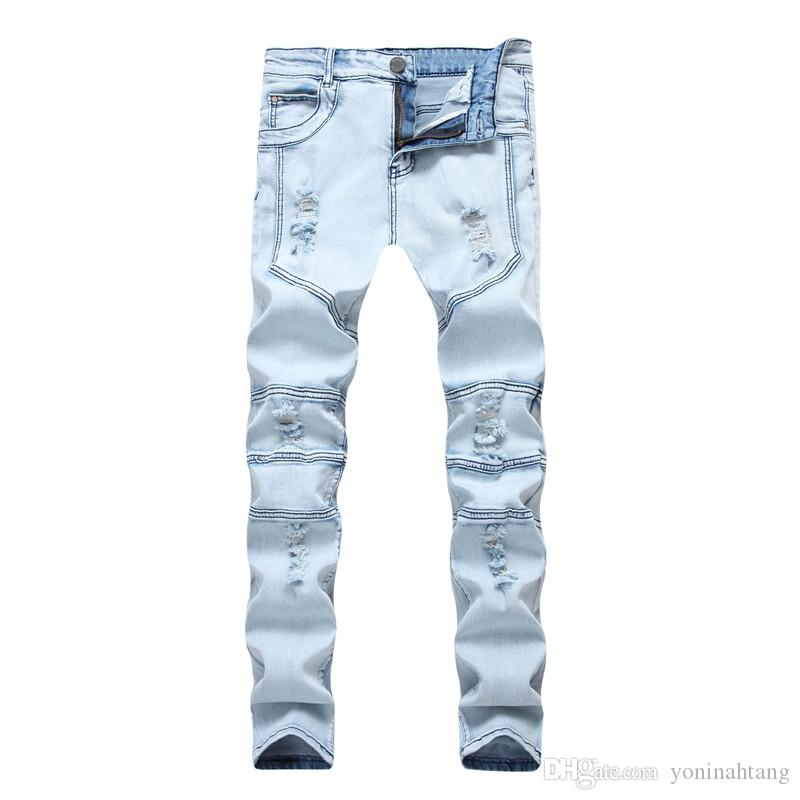 Los hombres de moda Biker Jeans Ripped Denim Slim Fit Pantalones empalmados Diseñador Hip Hop Skinny Jeans elásticos Agujeros Mens Trousers