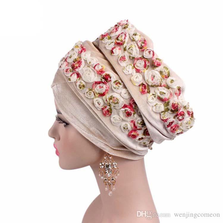 Moda Donna Velluto Bandane Festa di nozze Nigeriano Hijab Turbante con 3D Rose Flower Extra Long Foulard Head Wraps 8 colori Cappello