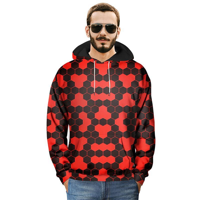 2018 осень и зима Мужские толстовки мода шаблон печати пуловер толстовка с шляпа большой размер Eur Мужская одежда хип-хоп