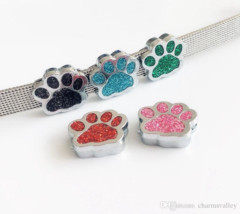 10pcs color mezclado 8 mm huella de la pata de Bling encantos de la diapositiva collar Fit 8mm mascotas llavero pulsera del collar de bricolaje
