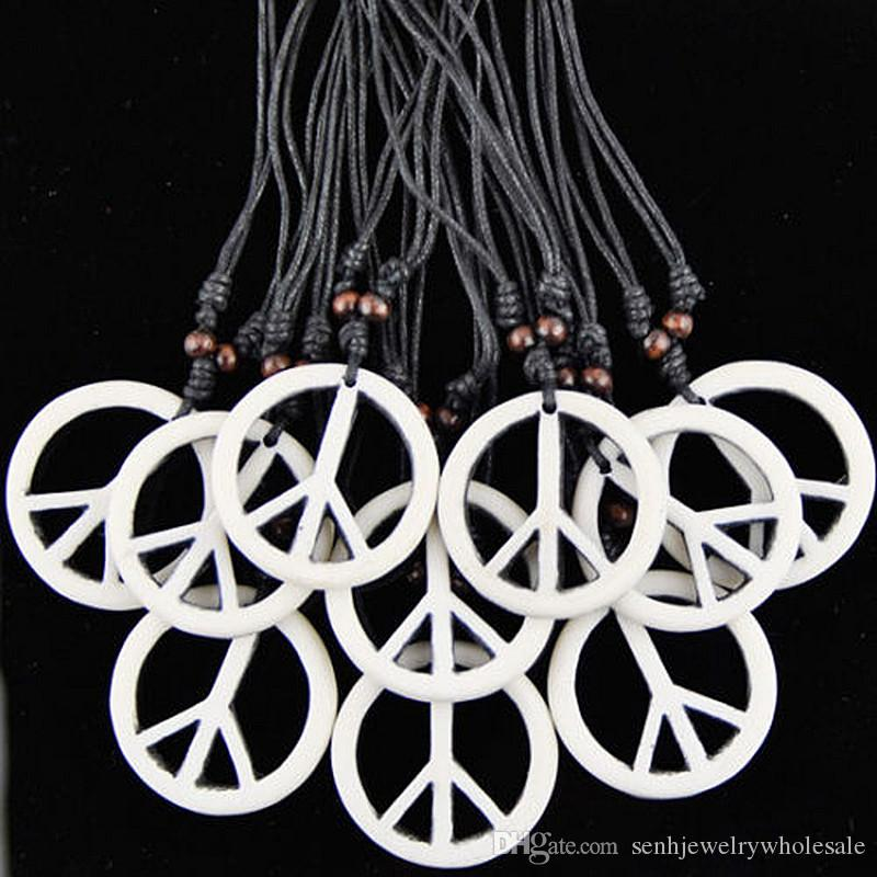 Fashion Jewelry Wholesale lot 12pcs/LOT Simulation Bone Carved White Peace Pendants Necklace Amulet for men women's gifts MN244