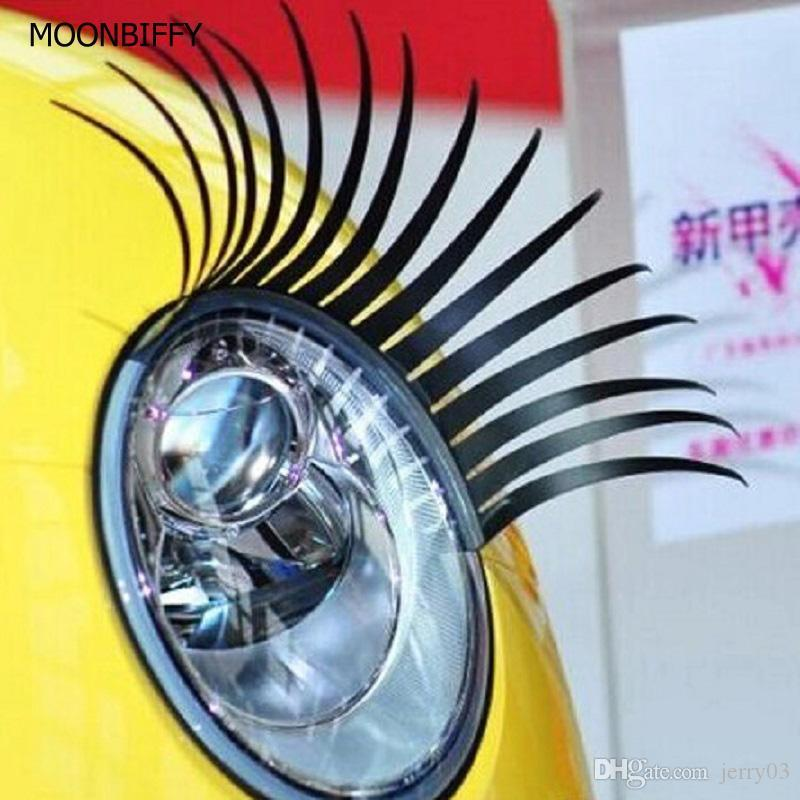 1 Pair Fashion Cute Car Styling Stickers Black Eyelashes Vehicle Headlight Decorative Sticker On Car