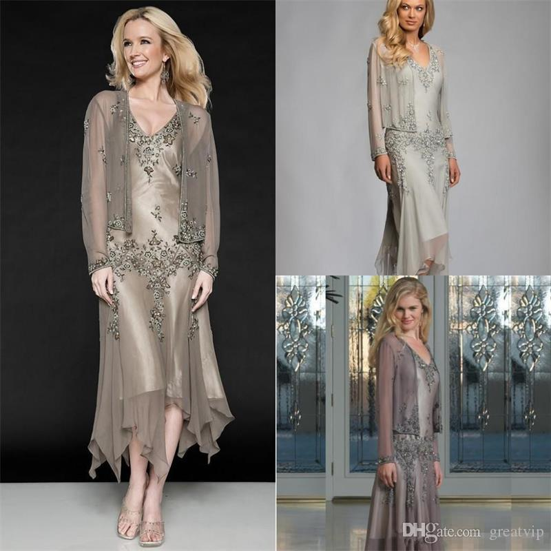 Mother Of The Bride Dresses A Line V Neck Two Pieces Applique Beaded Ruffles With Coat Long Sleeve Tea Length Plus Size Gowns
