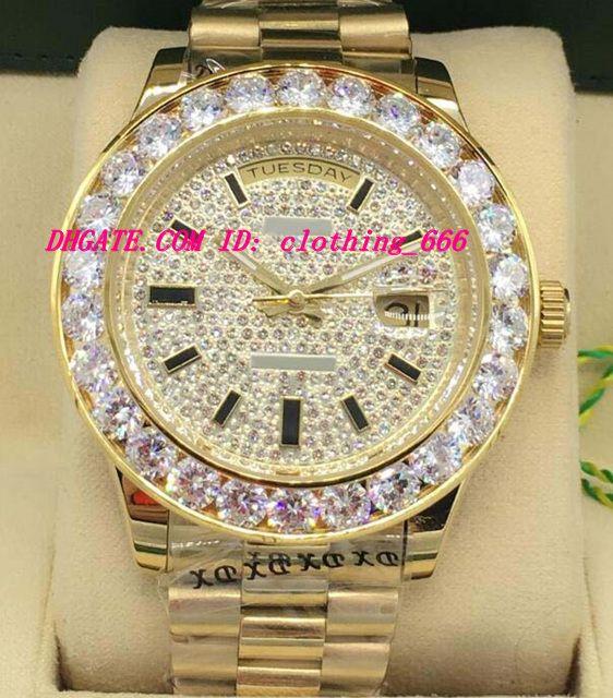 Orologi di lusso New Style 2 Style oro giallo 18K Diamond Dial 41 millimetri più grande dell'orologio della vigilanza Diamond Bezel uomini di modo automatico